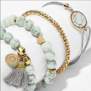 Boutique Mix n Match 4 Bracelets Grey/Gold OSFM